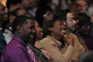 seminar guests laughing